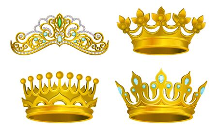 Royal Golden King Jewelry Vector Illustrated Collection. Majestic Manarchy Symbol Set Isolated On White Background Фото со стока - 131858461