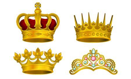 Collezione illustrata di vettore di gioielli Royal Golden King. Insieme di simboli maestoso della manarchia isolato su priorità bassa bianca