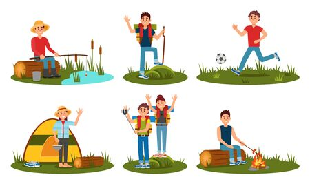 People Characters Spending Time At Summer Camp In Deep Forest. Setting Up Tent, Playing Football. Man And Woman Friends Hiking With Backpack on Vacation. Cartoon Flat Vector Illustration Illusztráció