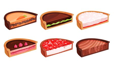 Different Pies Cut Into Halves Vector Illustrated Set.