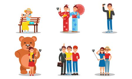 People Character Holding Selfie Stick Taking Photo In Places Vector Illustrations. Çizim
