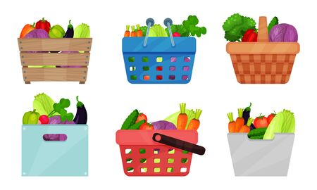 Fruits and Vegetables In Containers Vector Illustrations Set. Harvest in Baskets and Boxes Isolated Cliparts Pack. Organic Fresh Wooden And Plastic Baskets Elements