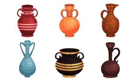 Conjunto de ilustraciones vectoriales de vajilla de cerámica. Jarras y jarrones de barro antiguo. Conceptos antiguos de decoración del hogar Ilustración de vector