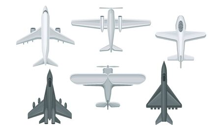 Airplanes and Military Aircraft Top View Vector Illustrated Set. Speed Vehicles Isolated On White Background Illusztráció