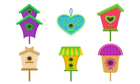 Colorful Birdhouses Vector Illustrated Set. Nesting Boxes For Birds. Decorative Elements For Postcards