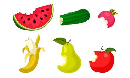 Bitten Fruits and Vegetables Vector Illustrated Set Ilustracja