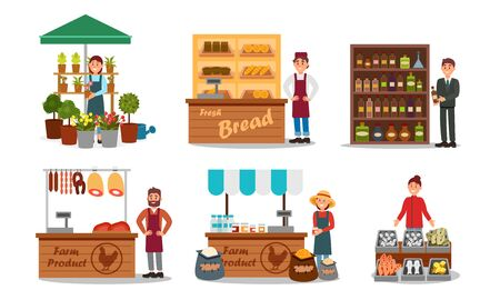 Vendors Characters Selling Farm Products Vector Illustrated Set Stock Illustratie