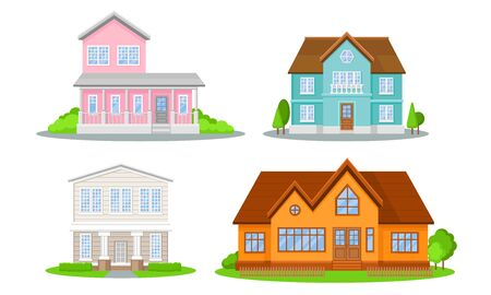 Mansions Set. Contemporary Colourful Buildings Vector Illustrated Concepts. Ilustracja