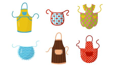 Colorful Kitchen Aprons Vector Illustrated Set. Cotton Clothing To Prepare Food.