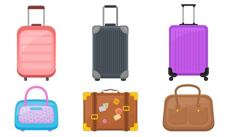 Plastic Luggage And Handbags Vector Illustrated Set. Suitcases For Air or Road Travelling Concepts
