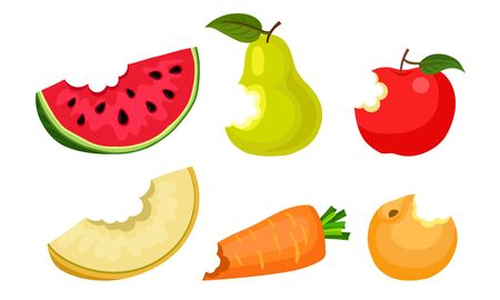 Bitten Fruits and Vegetables Vector Illustrated Set.