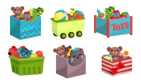 Scatole piene di giocattoli per bambini insieme illustrato di vettore.