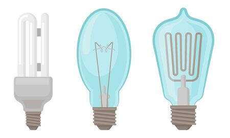 Fluorescent Lightbulbs Vector Illustrated Set. Energy Saving Light Bulbs. Electricity Efficiency Graphic Collection Illusztráció