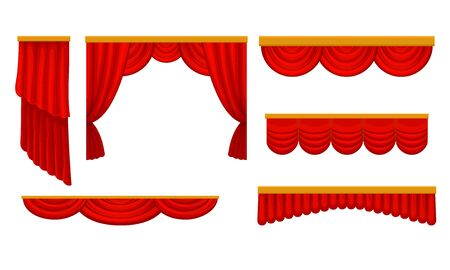 Luxury Scarlet Silk Curtains and Draperies Interior Decoration Design Ideas Realistic Vector Illustrations
