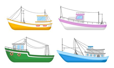 Yachts And Commercial Fishery Ships Vector Illustrated Set Illustration