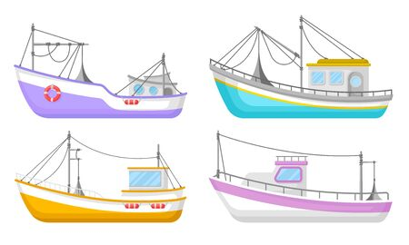Yachts And Commercial Fishery Ships Vector Illustrated Set. Marine Shipping Boats Collection 向量圖像