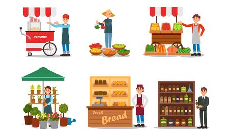 Verkoperskarakters die producten verkopen Vector geïllustreerde set