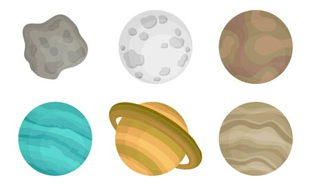 Planets of Solar System Vector Illustrated Set. Cosmic Scientific Collection Isolated On White Background
