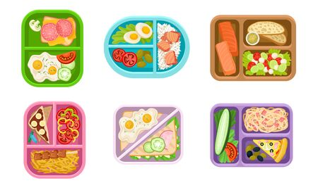 Lunchbox Containers Set With Bright Content. View From Above Lunch Concepts. Tasty Snack In Plastic Boxes to Eat During Break Illustration