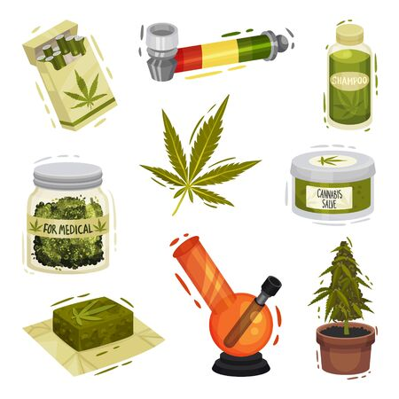 Cannabis Plant Things and Items Vector Illustrated Set. Pipe and Bong For Smoking and Cosmetics for Using. Organic Natural Concepts Illustration