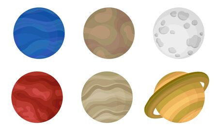 Planets of Solar System Vector Illustrated Set.