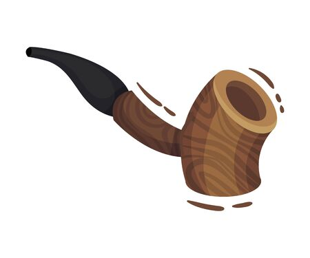 Cannabis Wooden Pipe For Smoking Vector Object Isolated On White Background. Colorful Smoking Pipe Concept
