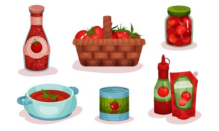 Different Food Items Made of Tomato Ingredient Vector Illustrated Set. Fresh Tomato Goods Collection