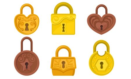Padlock Protection Sign Vector Illustrated Set. Symbol of Security. Metal Sniny Locks Collection