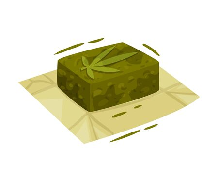 Cosmetic Soap With Main Cannabis Ingredient Vector Item. Natural Treatment Concept