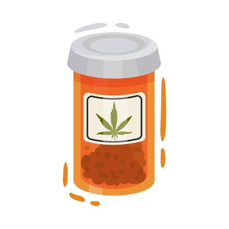Dry Cannabis Plant In Jar For Medical Purpose Vector Illustrated Object. Organic Treatment Concept 일러스트
