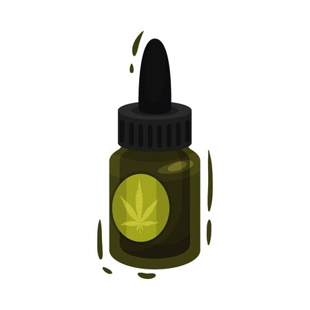 Cosmetic Bottle of Essential Oil With Main Cannabis Ingredient Vector Item. Natural Treatment Concept