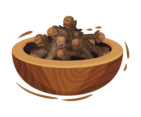Clove Dried Flower Buds in Wooden Bowl. Detailed Drawn Vector Illustrated Items. Natural Healthy Planting Concept