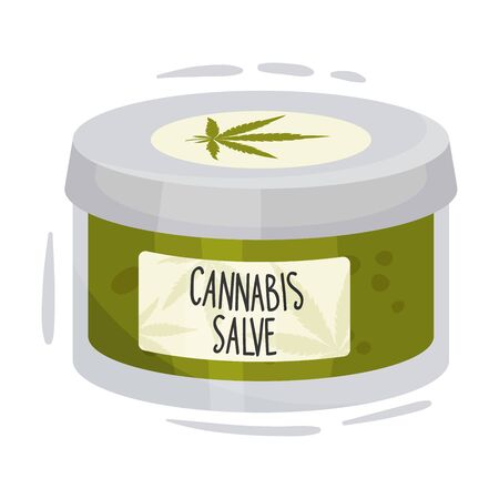 Cosmetic Jar of Salve With Main Cannabis Ingredient Vector Item. Natural Treatment Concept