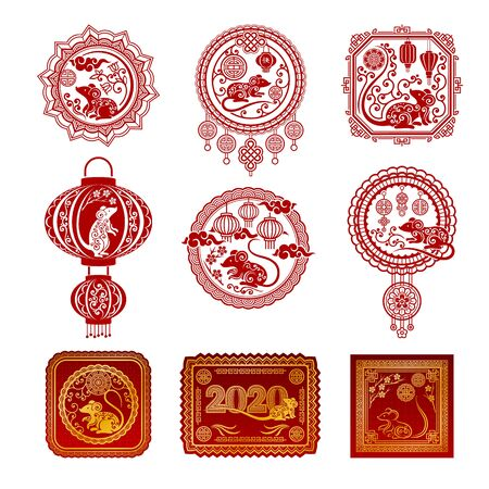 Set of red pictures with horoscope symbols in the style of Chinese paper clippings. Vector illustration. Illusztráció
