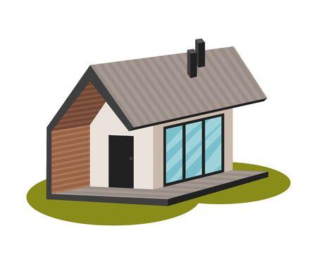 Small modern white house with large windows and a stylish veranda. Vector illustration. Standard-Bild - 132298675