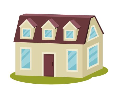 Gray modern house with an attic and a dark brown roof. Vector illustration.