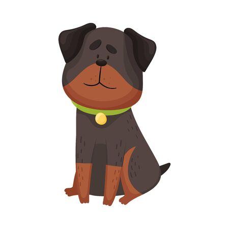Cartoon Rottweiler. Vector illustration on a white background.