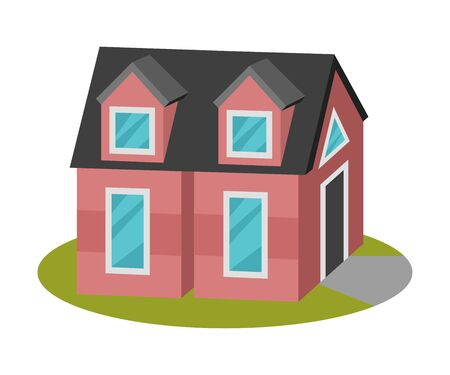Tall pink house with an attic under a black roof. Vector illustration.