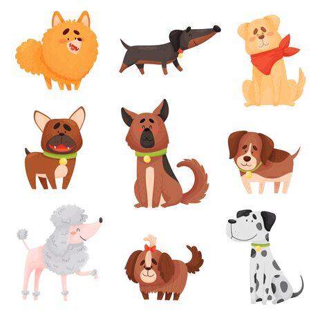 Set of cartoon dogs of different breeds. Vector illustration on a white background. Ilustração