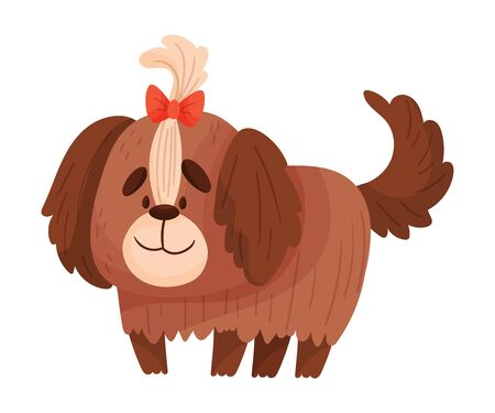 Cute yokshire terrier. Vector illustration on a white background.