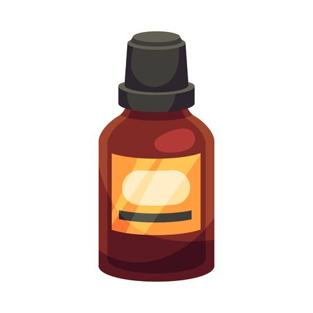Small brown closed bottle with a black cap and an orange label. Vector illustration on a white background.
