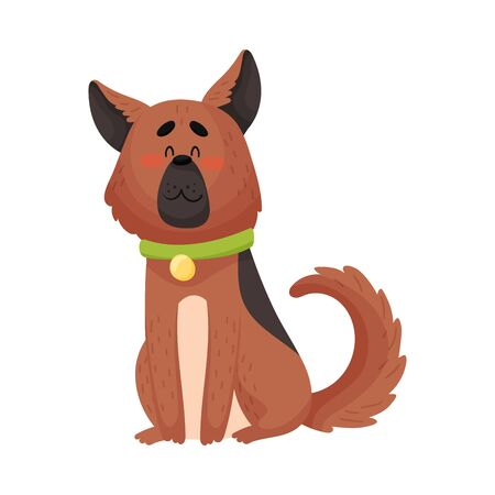 German shepherd with a collar. Vector illustration on a white background.