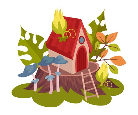 Forest fairy house on a stump with stairs and blue toadstools. Vector illustration on a white background.