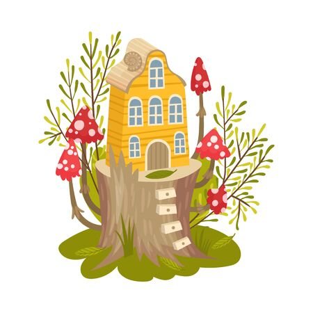 Little yellow house for fairies. Vector illustration on a white background.