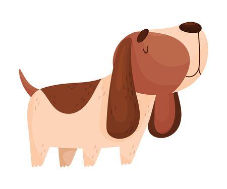 Cartoon Spaniel. Vector illustration on a white background. Ilustração