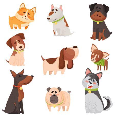 Set of cartoon thoroughbred dogs. Vector illustration.