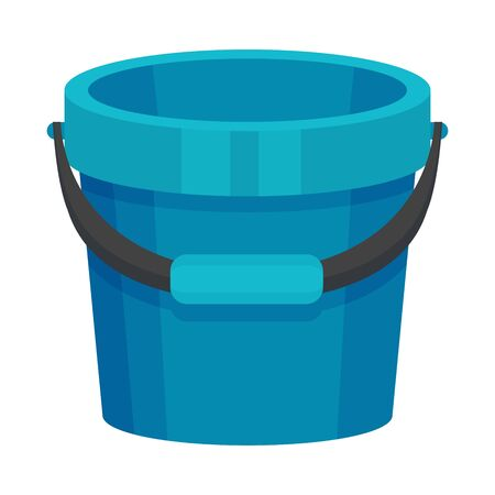 Large blue plastic empty bucket. Vector illustration on a white background.