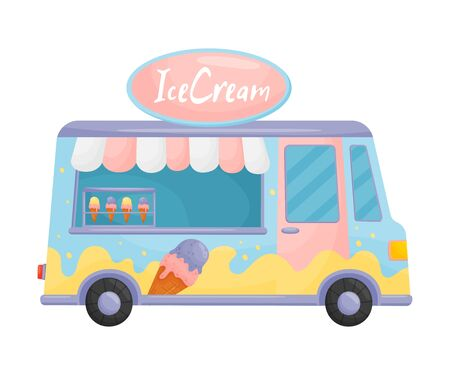 Light blue and pink food truck with ice cream. Vector illustration on a white background. Ilustração