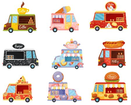 Set of food tracks of different shapes and colors. Vector illustration on a white background.