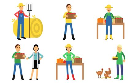 Farmers Characters In Different Actions In Agricultural Concept Vector Illustration Set Isolated On White Background